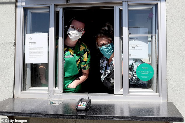 Starbucks said it would open around 15% of its UK stores as takeout and drive-thru during the first phase of its reopening plan. In the photo, Starbucks employees working on drive-thru in California because the global coffee chain has already opened locations in the United States.