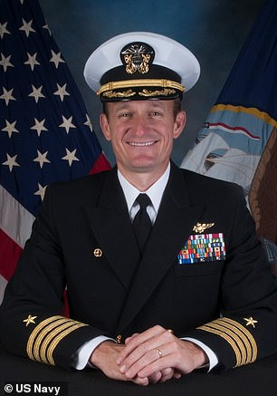 The ship was thrust into the international spotlight when its captain Brett Crozier (pictured) was relieved of his command by the Navy on April 2 after he sounded the alarm over the outbreak on board his ship. The navy may now reinstate him after an investigation