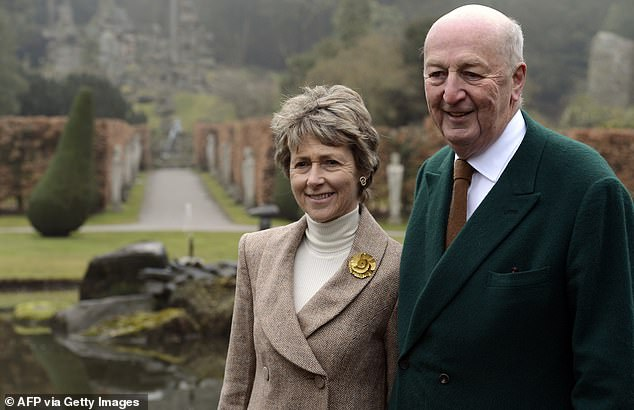 The Cavendish family is one of Britain's wealthiest aristocratic families (pictured, the Duke and Duchess of Devonshire posing in the grounds of the family estate in Derbyshire)
