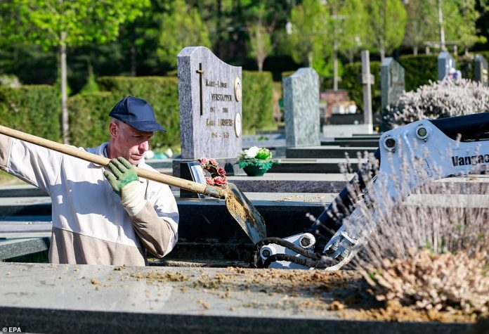A gravedigger prepares a grave for burial at Verrewinkel cemetery in Brussels, Belgium, where work has tripled since the start of the coronavirus pandemic