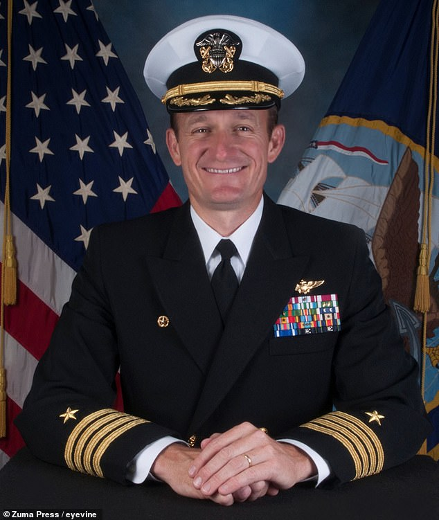 Former USS Theodore Roosevelt Cpt. Brian Crozier (pictured) wrote a memo and pleaded for additional assistance with the COVID-19 outbreak on his ship