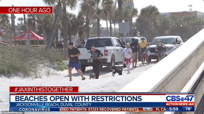 Despite the country gripped by the terrifying pandemic, the Floridians were quick to return to the sand and the sea in Jacksonville (photo)
