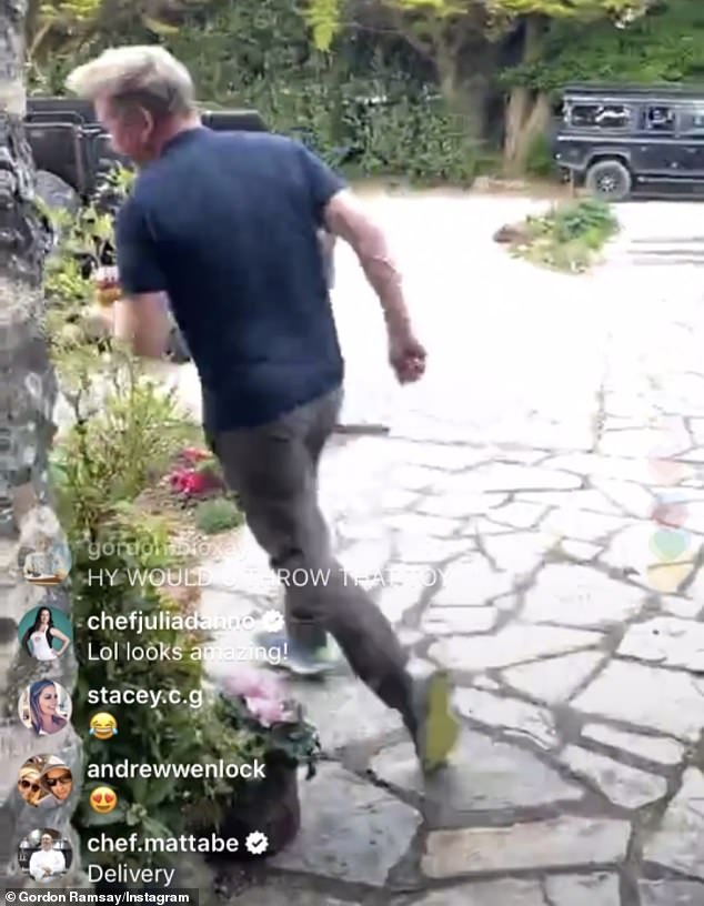 Off he goes! The TV chef cooked the delicious dish on Instagram Live, before running to offer the dish to neighbours outside his house, shouting: 'Love thy neighbour!'
