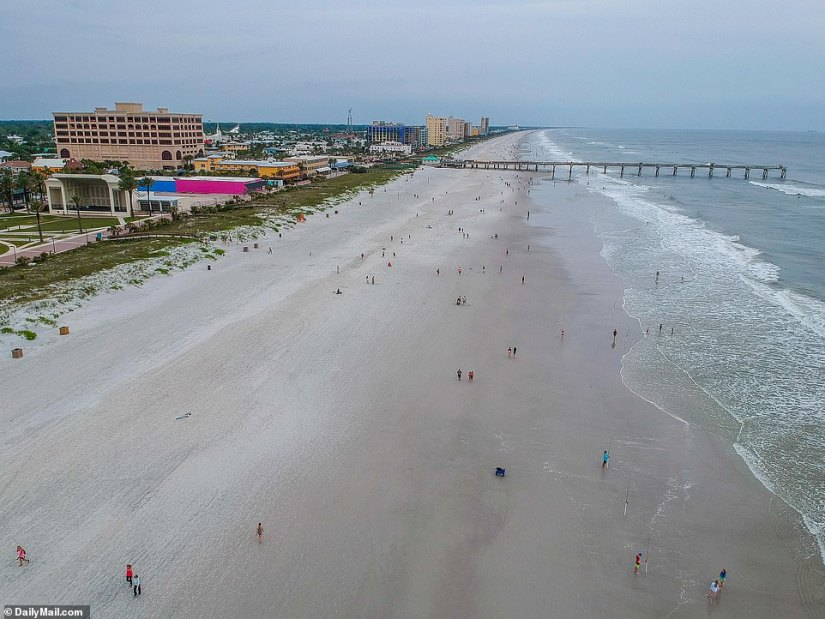 Thousands of Jacksonville residents poured onto the beaches on Friday as they reopened for the first time in weeks, but Saturday seemed to quiet down as the day was overcast