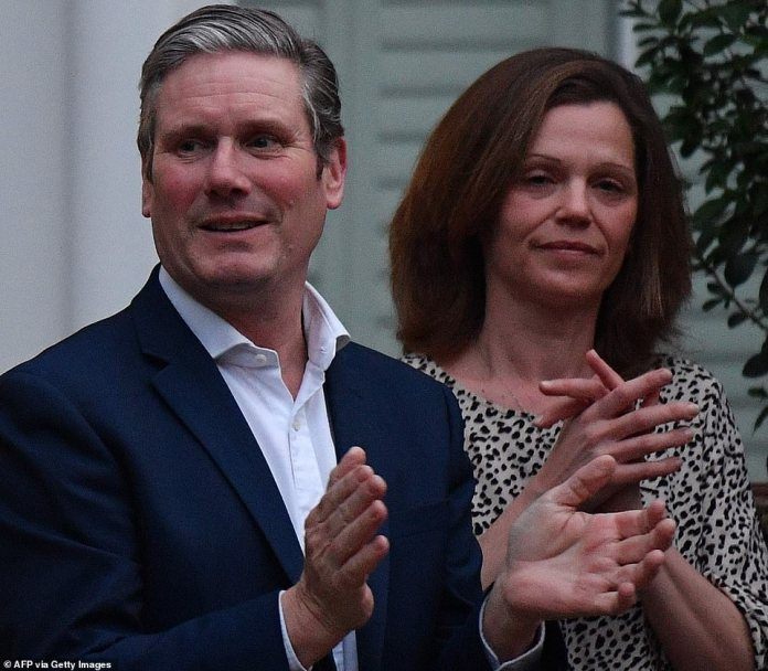 Labor leader Sir Starmer and his wife Victoria take part in the national 'Clap our Carers' campaign to thank the work of British NHS workers and front line medical personnel across the country as they fight the pandemic of coronavirus