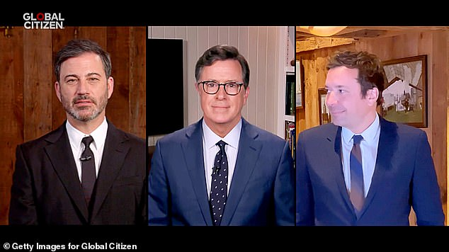 NBC, ABC and CBS have teamed up to broadcast the historic event with late night talk show hosts Jimmy Kimmel [L], Jimmy Fallon [R] and Stephen Colbert meet to host the show