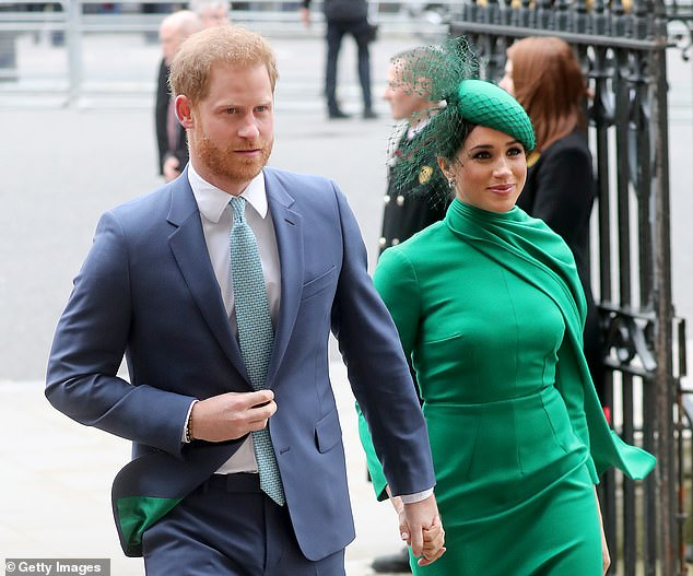Harry (pictured in London alongside Meghan in March) has been criticized for his comments on the coronavirus crisis