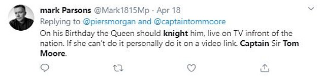 Members of the public asked Captain Tom to become a knight for his work