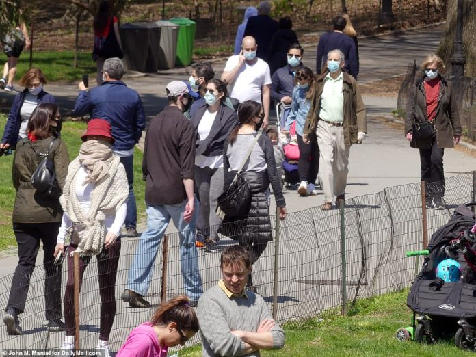 People took advantage of the Central Park sun on Sunday. Although most stayed 6 feet apart, others seemed closer