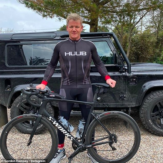 Staying in shape: Gordon Ramsay risked being overshadowed by his neighbors after embarking on a 22-mile bike ride around Cornwall on Sunday