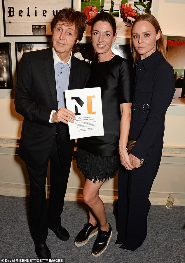 Former Beatle Paul's daughter Stella McCartney is now one of the most recognized fashion names with her favorite celebrity designs. She is seen above, on the right, with her father and sister Mary