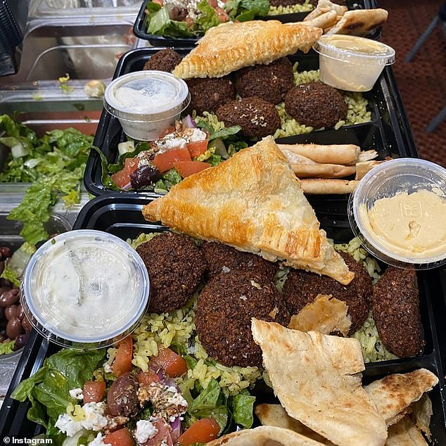 Yum! The post included photos of meals from Aliki's Greek taverna in Los Angeles, which included crispy brown falafel patties and stuffed flaky filo with hummus and pita bread, salad and rice