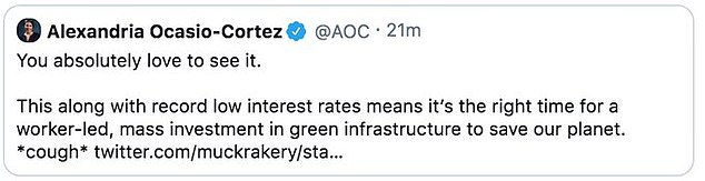 AOC removed the post but still used the economic collapse to plug her Green New Deal