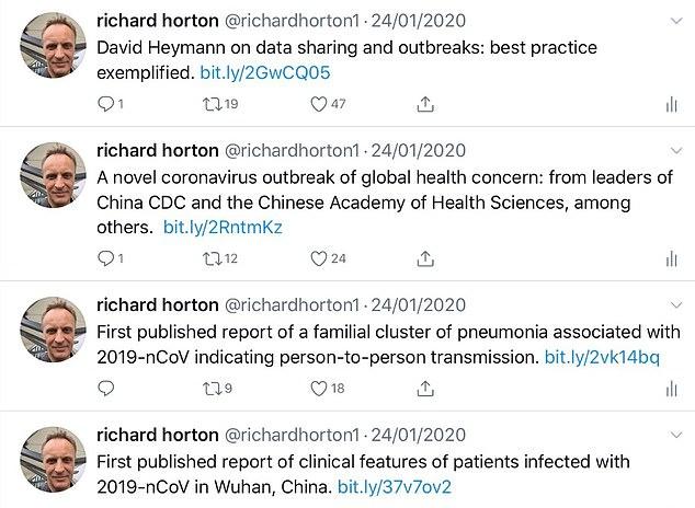 Le Dr Horton a publié une série de cinq articles universitaires en janvier, quelques jours avant le diagnostic du premier cas de Covid-19 au Royaume-Uni, qui décrivaient en détail le roman coronavirus