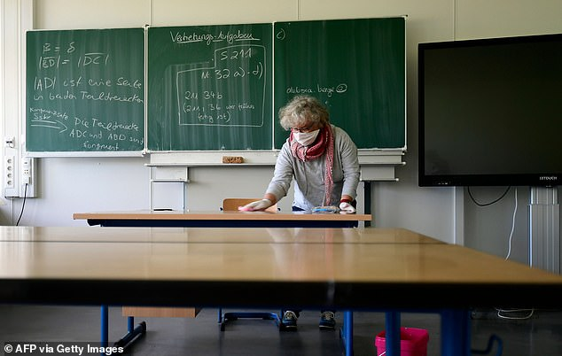 GERMANY: Teacher wearing face mask cleans desk in classroom of Dortmund Phoenix Gymnasium yesterday