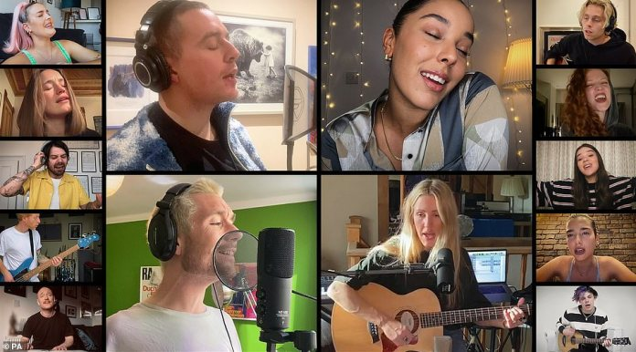 Making history: Dermot Kennedy, Grace Carter, Dan Smith de Bastille and Ellie (four main) seduced by their incredible voice