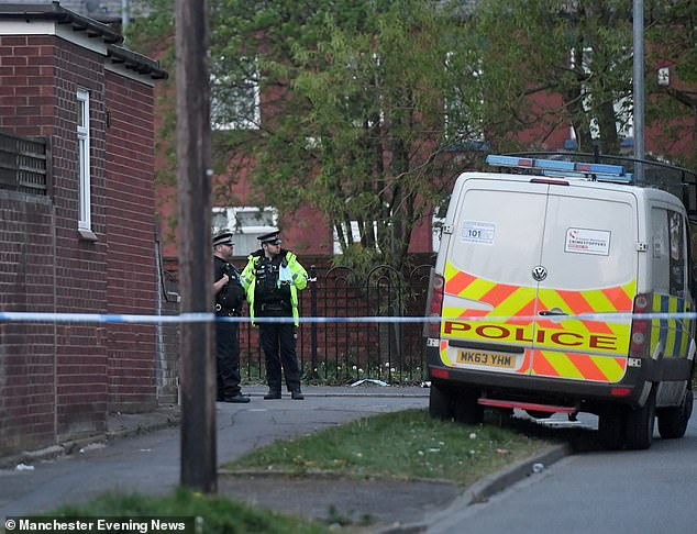 Police are at the scene of the incident at Gorton Cemetery, Manchester (April 23, 2020)