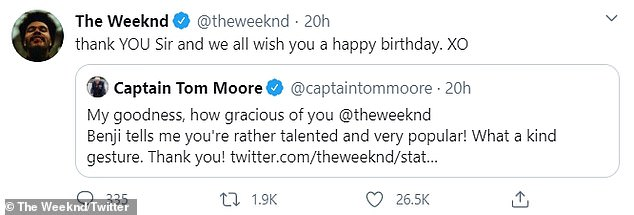 Share his gratitude: The Weeknd was also delighted by Captain Tom, who replied,