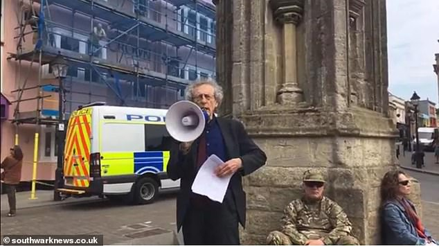 Piers Corbyn (photo) led the rally in Glastonbury, Somerset, against the government foreclosure, which he said was causing the deaths of more people