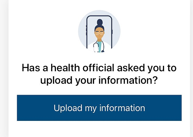 Another prompt on the app asks whether 'a health worker asked you to upload your information?'