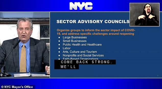 According to the mayor, there will be several advisory councils divided by industry and sector to help get the city back on track