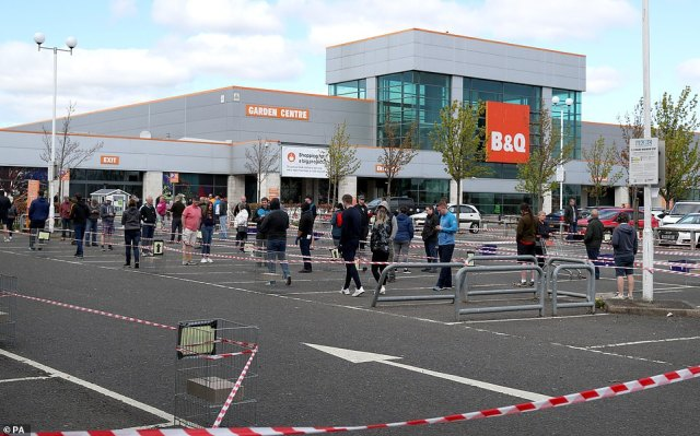 Shoppers were willing to risk catching coronavirus from others as they took the chance to do some DIY. Pictured: A B&Q store in Edinburgh