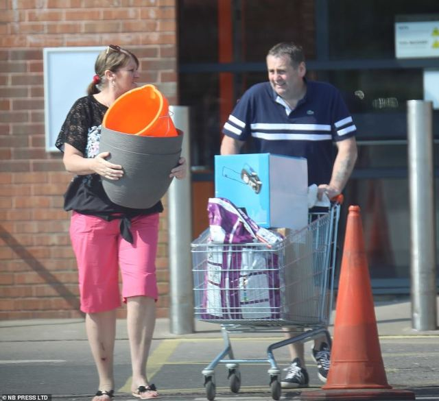 Shoppers were pictured carrying items including plant pots, buckets and even a lawn mower at one B&Q store in York
