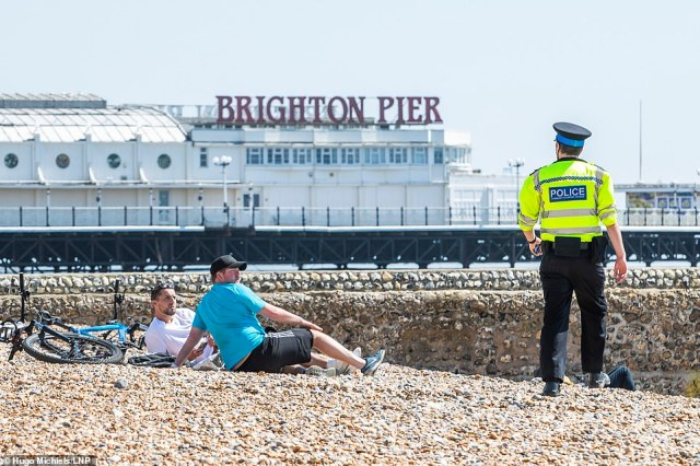 People seeking the sun were also seen on Brighton's beaches as police officers told people to go home if they weren't out for essential exercise