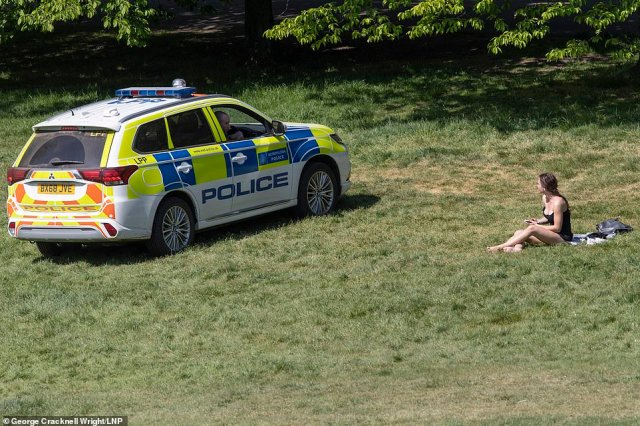 An officer drove up to a woman sitting on the grass in a bikini top in Greenwich Park in London