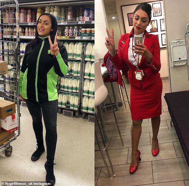 Virgin Atlantic flight attendant Sara Haider started work at Asda after being put on leave