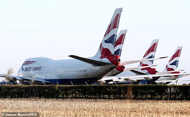 British Airways owners to lay off up to 12,000 people as airline struggles to cope with declining demand due to coronavirus pandemic, comes as airline planes are immobilized across the country , including in Bournmeouth, above