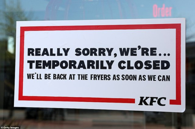 The fried chicken chain announced on March 25 it was closing all of its restaurants, pictured,despite government guidance stating that takeaways could remain open