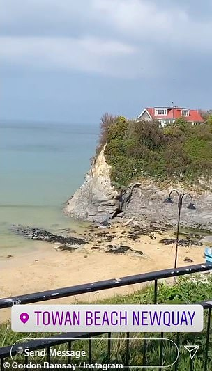 Taking it easy: The Hell's Kitchen star then shared a series of clips overlooking Towan Beach in Newquay as he stopped for a rest before cycling the 11 miles back home