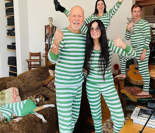 Unusual setup: Demi and Bruce - who divorced more than 20 years ago but remain friends - are in quarantine with their adult daughters Rumer, 31, Scout, 28 and Tallulah, 26.