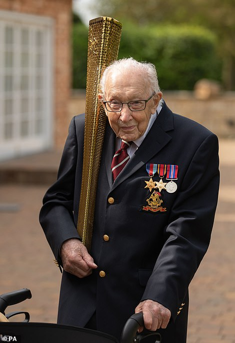 Colonel Tom Moore celebrating his 100th birthday by carrying the 2012 Olympic torch, as he completes a lap of his garden