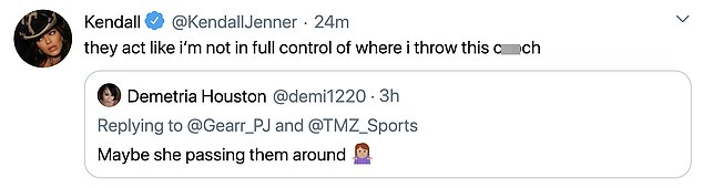 Hitting the Hateers: Kendall Jenner gave an epic, x-rated response to a joke made about his `` broadcast '' by NBA players