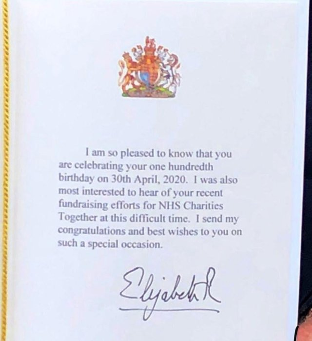 The Queen wrote: 'I am so pleased to know that you are celebrating your one hundredth birthday. I was also most interested to hear of your recent fundraising efforts for NHS Charities Together at this difficult time. I send my congratulations and best wishes to you on such a special occasion.'
