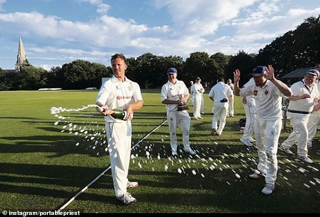 The 'portable priest', pictured at the Church Times Cricket Cup in October 2019, has wowed residents across London with his services in which he plays Amazing Grace and performs the Lord's Prayer