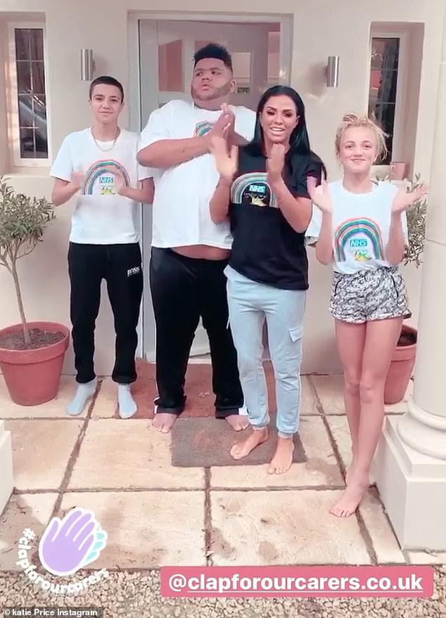 Good cause: Katie Price reunited with children Princess and Junior on Thursday for the first time since lockdown began as they joined a nationwide applause in honour of the NHS , police and key workers during the coronavirus pandemic