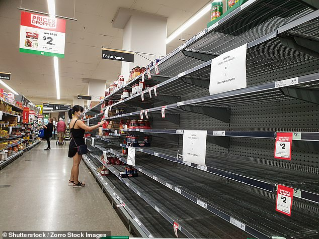 Woolworths CEO Bradford Banducci explained the reason to not having many items on special is due to the demand of other products (Pictured: Empty pasta and sauce shelves at Woolworths in the Gold Coast on March 21)