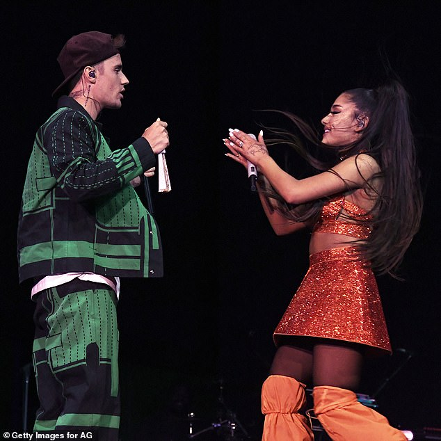 As seen at Coachella: Stuck With U will be the first recording of Justin and Ariana's release together, but pop stars have worked together before
