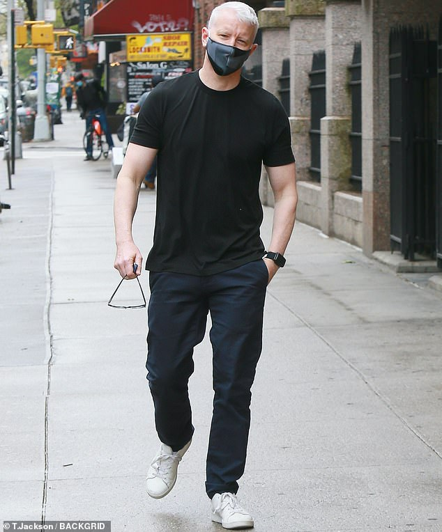 Outside: Anderson Cooper was seen in New York this week after welcoming his eldest son Wyatt to the world