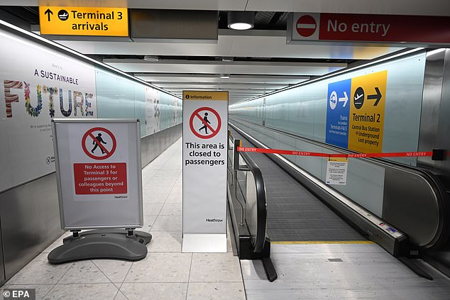 Airport terminals such as this one at London Heathrow, pictured, have been closed during the pandemic, scippering many holiday plans