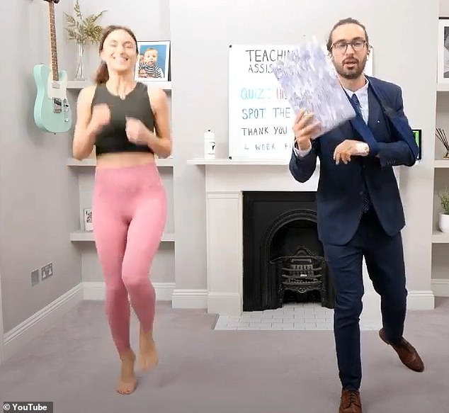 Assistance: A recent accident meant that Joe Wicks was in good company Monday morning when his wife Rosie Jones intervened to help the injured fitness guru with his daily exercise sessions.