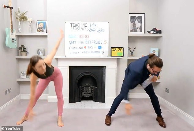 That's all Rosie: the fitness guru guided his wife through the exercises while they were training