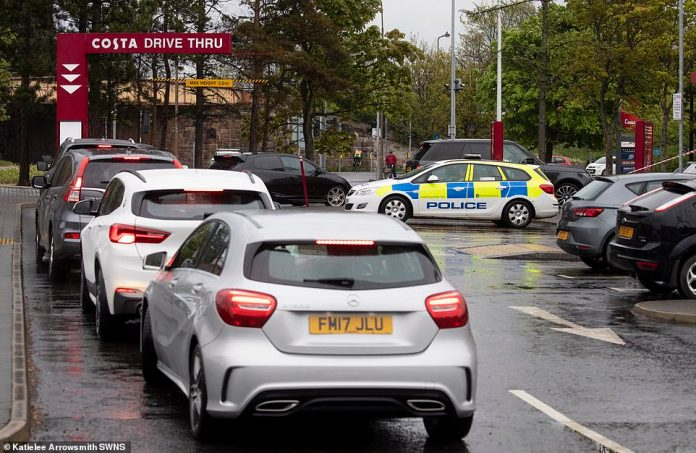 Drivers were seen queuing for coffee at Costa Drive Thru, Cameron Toll, Edinburgh this morning