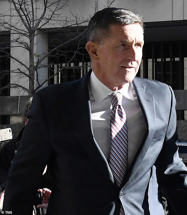 Priestap¿s notes, written after a meeting with then-FBI Director James Comey and then-FBI Deputy Director Andrew McCabe, revealed top FBI officials discussing their motivations for having agents interview Flynn (pictured) in the White House on January 24, 2017.