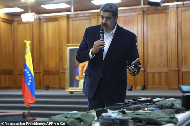 On Monday, Venezuela's President Nicolas Maduro used a press conference to display the equipment that had allegedly been seized by Venezuelan armed forces after capturing the 'mercenaries'
