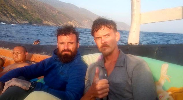 Goudreau said he last communicated with Denman (right) and Berry (left) when they were adrift in a boat 'hugging' the Caribbean coast of Venezuela. They were still in their boat following an initial confrontation with the Venezuelan Navy on Monday, he said