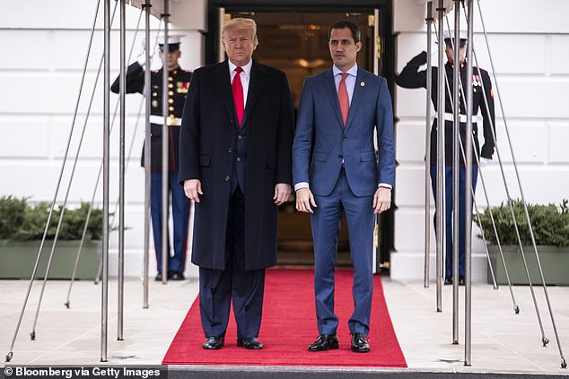 Goudreau accompanied Schiller to a meeting in Miami with activist Lester Toledo, who was working as coordinator for the delivery of humanitarian aid for then Venezuelan opposition leader Juan Guaidó. Pictured: Trump and Guaido, who swore himself in as the leader of Venezuela posing outside the White House in Washington on February 5